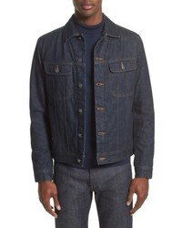 Темно-синяя джинсовая куртка-рубашка