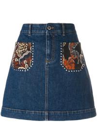 Темно-синяя джинсовая мини-юбка с вышивкой от Stella McCartney