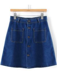 Темно-синяя джинсовая мини-юбка