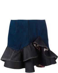 Темно-синяя джинсовая мини-юбка от Alexander McQueen
