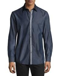 Темно-синяя джинсовая рубашка в вертикальную полоску