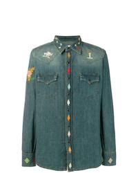 Мужская темно-синяя джинсовая рубашка с вышивкой от Saint Laurent