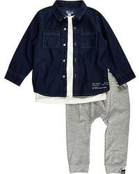 Темно-синяя джинсовая рубашка с длинным рукавом