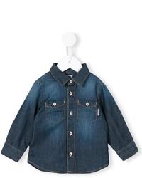 Детская темно-синяя джинсовая рубашка с длинным рукавом для мальчику
