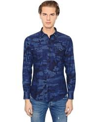 Темно-синяя джинсовая рубашка с камуфляжным принтом