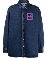 Мужская темно-синяя джинсовая рубашка с принтом от Raf Simons