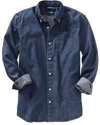Темно-синяя джинсовая рубашка