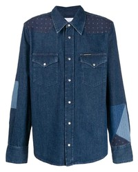 Мужская темно-синяя джинсовая рубашка от Calvin Klein Jeans