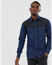 Мужская темно-синяя джинсовая рубашка от Esprit