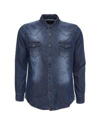 Мужская темно-синяя джинсовая рубашка от Frank NY