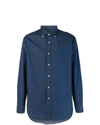 Мужская темно-синяя джинсовая рубашка от Mp Massimo Piombo