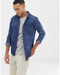 Мужская темно-синяя джинсовая рубашка от Nudie Jeans