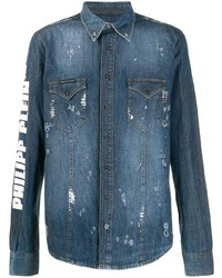 Мужская темно-синяя джинсовая рубашка от Philipp Plein