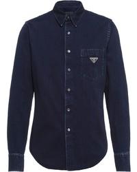 Мужская темно-синяя джинсовая рубашка от Prada