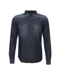 Мужская темно-синяя джинсовая рубашка от Sisley