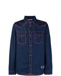 Мужская темно-синяя джинсовая рубашка от Valentino