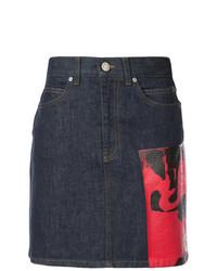 Темно-синяя джинсовая юбка-карандаш с принтом от Calvin Klein 205W39nyc