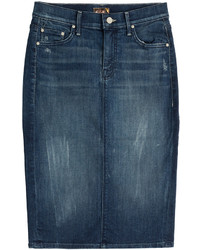 Темно-синяя джинсовая юбка-карандаш