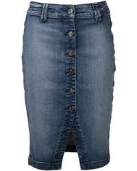 Темно-синяя джинсовая юбка-карандаш от 7 For All Mankind