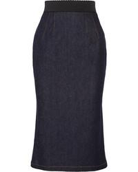 Темно-синяя джинсовая юбка-карандаш от Dolce & Gabbana