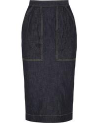 Темно-синяя джинсовая юбка-карандаш от Tomas Maier