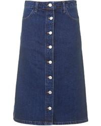 Темно-синяя джинсовая юбка на пуговицах