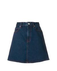 Темно-синяя джинсовая юбка-трапеция от Calvin Klein Jeans