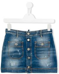 Детская темно-синяя джинсовая юбка для девочке от DSQUARED2