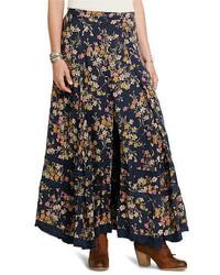 Темно-синяя длинная юбка с цветочным принтом