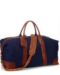Темно-синяя дорожная сумка из плотной ткани