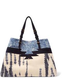 Женская темно-синяя замшевая большая сумка с принтом от Jerome Dreyfuss