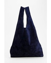 Темно-синяя замшевая большая сумка