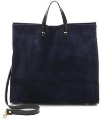 Женская темно-синяя замшевая большая сумка от Clare Vivier