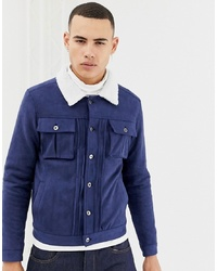 Темно-синяя замшевая куртка-рубашка