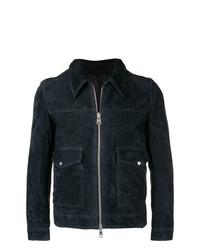 Мужская темно-синяя замшевая куртка-рубашка от AMI Alexandre Mattiussi