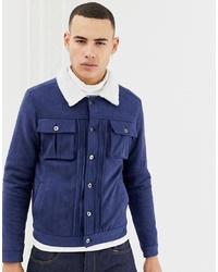 Мужская темно-синяя замшевая куртка-рубашка от Another Influence