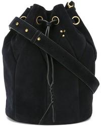 Темно-синяя замшевая сумка-мешок
