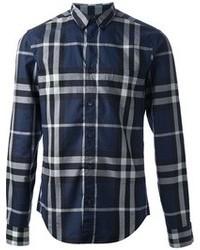 Темно-синяя классическая рубашка в шотландскую клетку