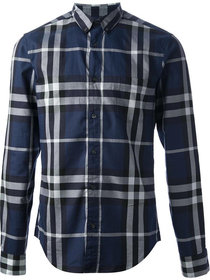 7ac407de00a1 ... Мужская темно-синяя классическая рубашка в шотландскую клетку от  Burberry