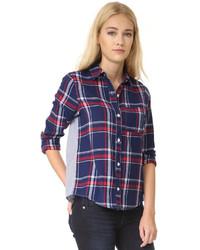 Женская темно-синяя классическая рубашка в шотландскую клетку от Clu