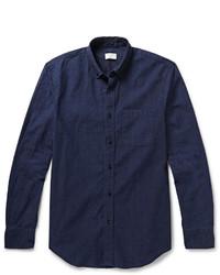 Темно-синяя классическая рубашка из шамбре