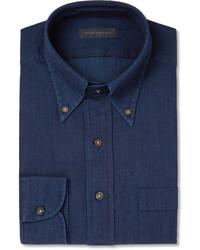 Мужская темно-синяя классическая рубашка из шамбре