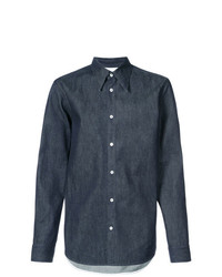 Мужская темно-синяя классическая рубашка из шамбре от Calvin Klein 205W39nyc