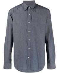 Мужская темно-синяя классическая рубашка из шамбре от Canali