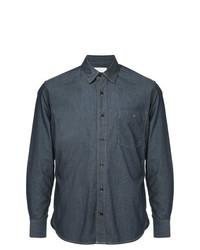Мужская темно-синяя классическая рубашка из шамбре от Cerruti 1881