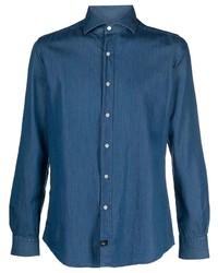 Мужская темно-синяя классическая рубашка из шамбре от Fay