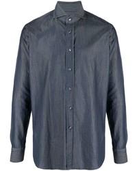 Мужская темно-синяя классическая рубашка из шамбре от Tagliatore