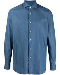Мужская темно-синяя классическая рубашка из шамбре от Xacus