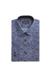 """Темно-синяя классическая рубашка с """"огурцами"""""""