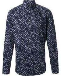 Темно-синяя классическая рубашка с цветочным принтом